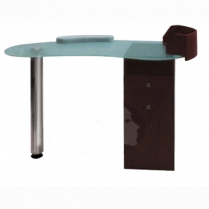Manicure Table - Frosted Glass Top, 2 Draw & Cupboard - Blac