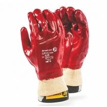 Glove PVC Red Knitwrist